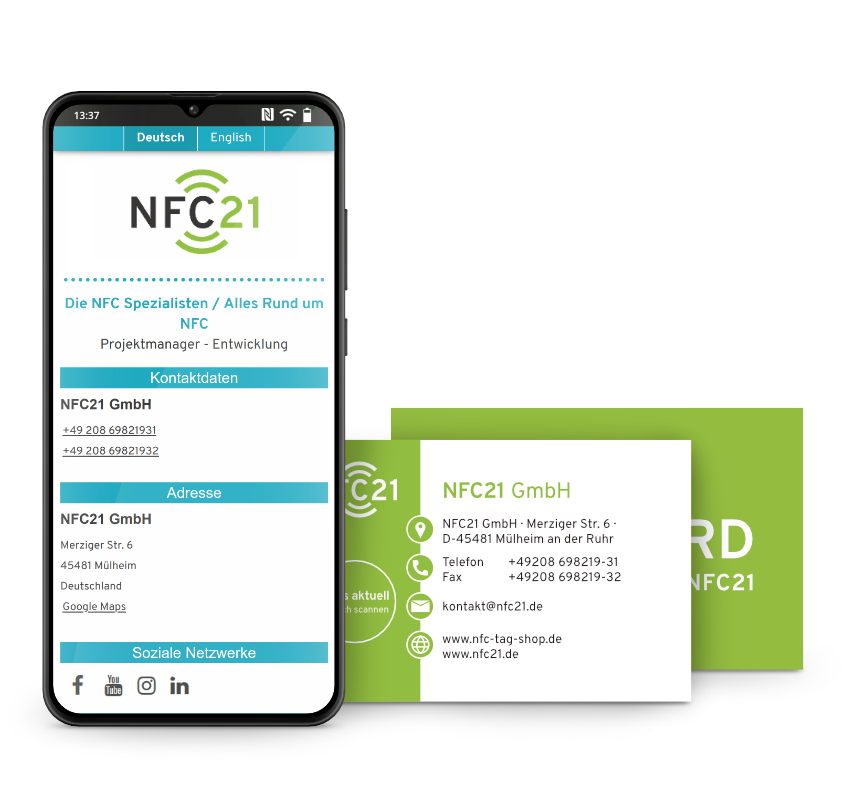 Smartphone and two NFC vCards