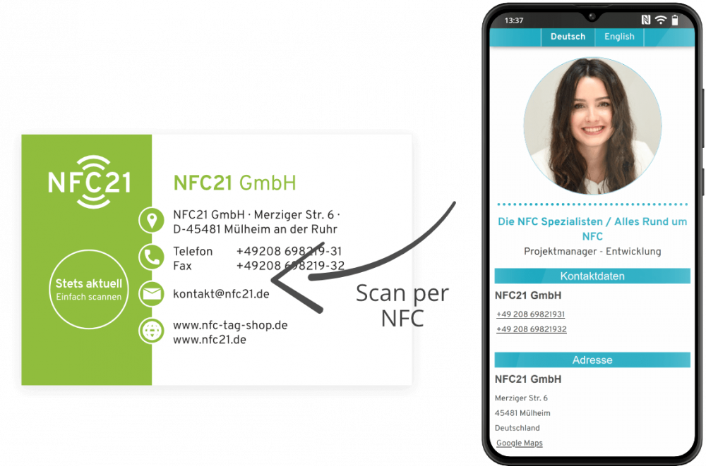 Smartphone mit NFC-vCard